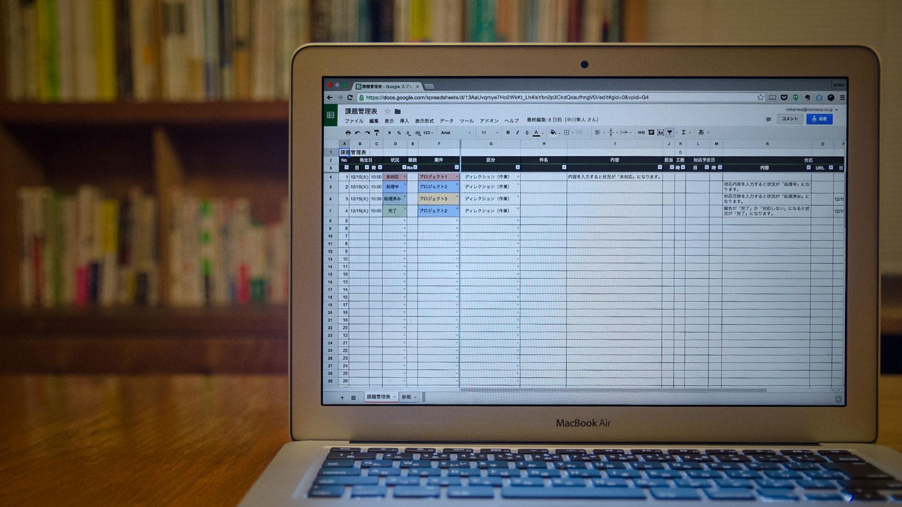 課題管理表を使って現状を整理することも大切。